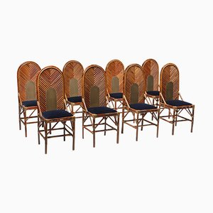 Chaise de Salle à Manger en Bambou, Laiton et Velours Bleu, 1970s