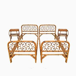 Lits et Tables de Chevet Vintage en Rotin et Bambou, Italie