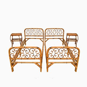 Vintage Italian Rattan and Bamboo Beds and Nightstands Set