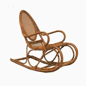 Sedia a dondolo in vimini e bambù, anni '60