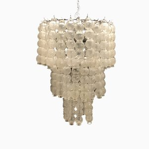 Large Mid-Century Murano Glass Bubble Chandelier by Venini, 1970s