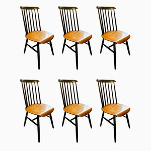 Mid-Century Fannet Dining Chairs by Ilmari Tapiovaara, Set of 6