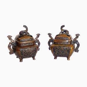 Quemadores de incienso antiguos de bronce. Juego de 2