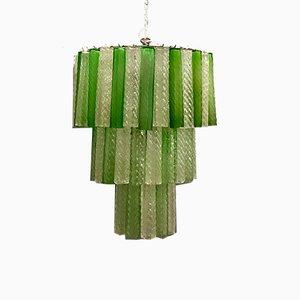 Großer Mid-Century Kronleuchter mit Behang aus grünen Muranoglasröhren von Paolo Venini, 1970er