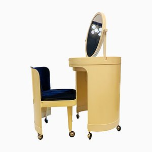 Italian Cream Plastic Dressing Table and Chair Set from Kastilia, 1960s