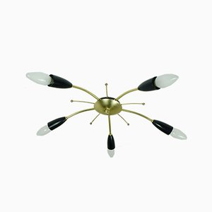 Mid-Century Brass and Plastic Sputnik Ceiling Lamp from Stilnovo, 1950s