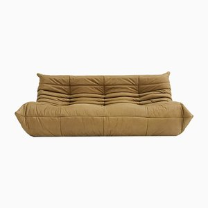 Large Vintage French Camel Leather Togo Sofa by Michel Ducaroy for Ligne Roset