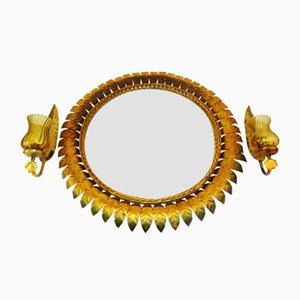 Specchio e applique in ferro battuto dorato di Ferro Art, anni '50
