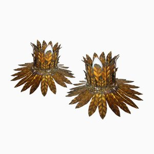 Golden Sunburst Ceiling Lamps, 1950s, Set of 2
