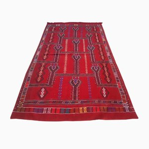 Alfombra Kilim turca vintage en rojo, años 70
