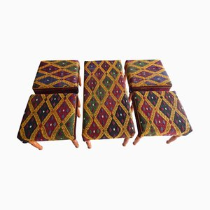 Vintage Turkish Kilim Bench and Footstools Set, 1980s