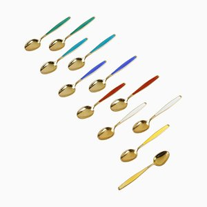 Mid-Century Norwegian Enamel and Gilt Sterling Silver Spoons by Jacob Tostrup for J.T.Norway, 1950s, Set of 12