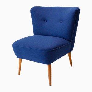 Vintage Cocktail Chair mit blauem Wollbezug, 1960er