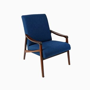 Vintage Blue Lounge Chair by Ton, 1960s