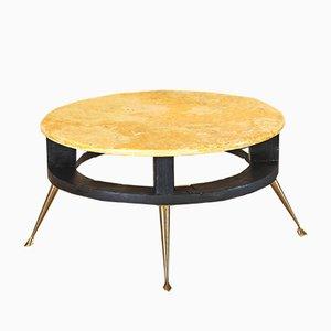 Tavolino da caffè in legno e marmo, anni '50