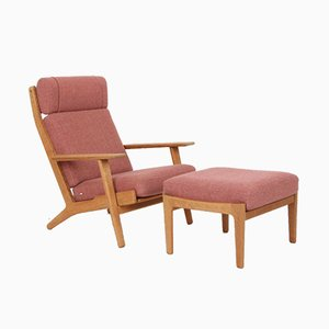 Model GE290A Chaise Lounge and Model GE290S Footstool Set by Hans J. Wegner for Getama, 1980s