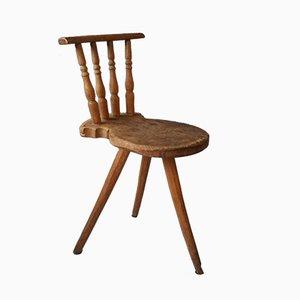 Dreibeiniger Beistellstuhl aus Holz, 19. Jh.
