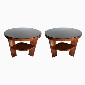 Art Deco Italian Walnut and Black Glass Coffee Tables, Set of 2