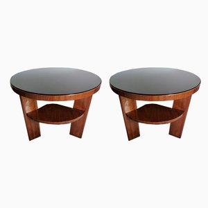 Tavolini da caffè Art Deco in noce e vetro nero, Italia, set di 2