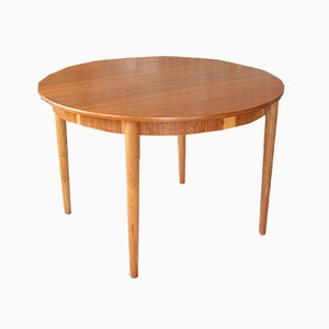 Mid-Century Danish Teak Circular Extendable Dining Table, 1960s