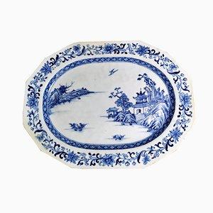 Antikes chinesisches Tablett aus Porzellan in Kobaltblau, 1760er