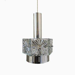 Lampe à Suspension Mid-Century en Verre Cristal et Chrome de VEB Kristalleuchte Ebersbach, années 60