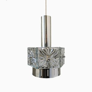 Mid-Century Crystal Glass and Chrome Pendant Lamp from VEB Kristalleuchte Ebersbach, 1960s