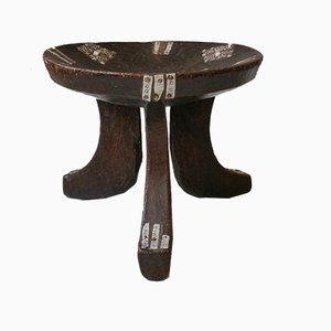 Taburete trípode etíope de madera curvada, años 50