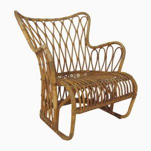 Vintage Scandinavian Rattan and Bamboo Lounge Chair by Tove Kindt-Larsen, 1940s
