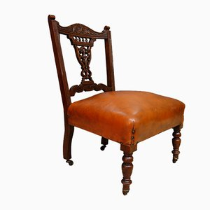 Antique Edwardian Walnut and Leather Hall Chair