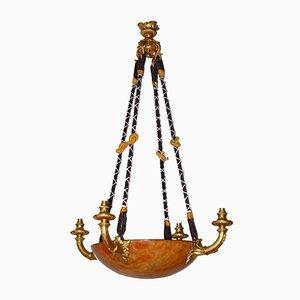 Antiker Kronleuchter aus vergoldeter Bronze & Alabaster