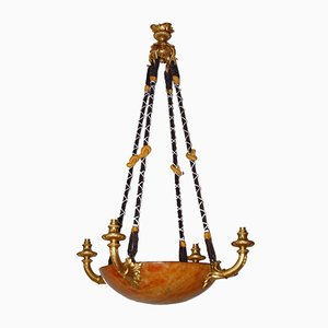 Antique Gilt Bronze and Alabaster Chandelier