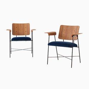 Mid-Century Italian Bentwood Teak and Blue Velvet Armchair, 1950s
