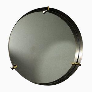 Runder Vintage Spiegel mit Messingrahmen, 1950er