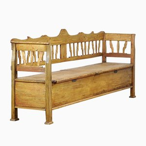 Large Antique Hungarian Pinewood Bench, 1900s