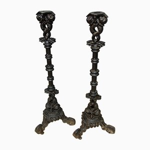Antique Victorian Cast Iron Sculptural Candleholder