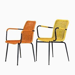 Sedie da bar gialle e arancioni, Italia, anni '50, set di 2