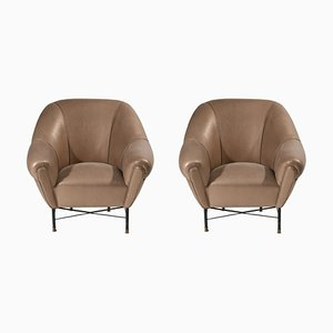 Mid-Century Leather Armchairs, Set of 2