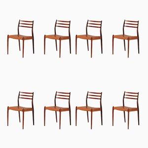 Modell 78 Esszimmerstühle aus Palisander von Niels Otto Møller für J.L. Møllers, 1962, 8er Set