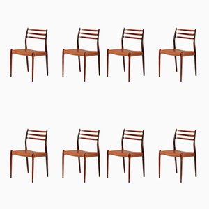 Rosewood Model 78 Dining Chairs by Niels Otto Møller for J.L. Møllers, 1962, Set of 8