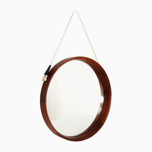 Vintage Teak Round Wall Mirror, 1960s