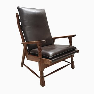 Mid-Century Oak and Leather Lounge Chair, 1950s