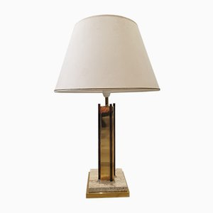 Vintage Gold Plated and Travertine Table Lamp, 1970s