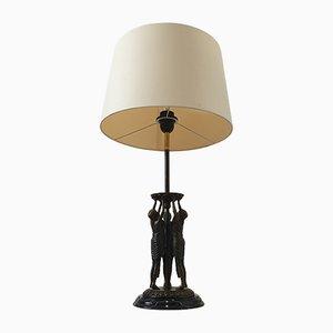 Lámpara de mesa Art Déco escultural de bronce y mármol negro, años 30