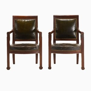 19th Century French Mahogany and Leather Armchairs, Set of 2
