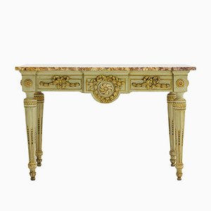 Table Console 18e Siècle en Bois Peint et en Marbre, France