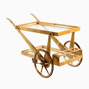 Chariot de Bar Mid-Century d'Aldo Tura, Italie, années 50