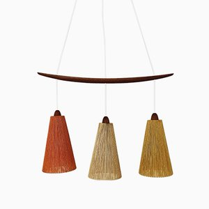 Danish Teak and Raffia Ceiling Lamp, 1960s