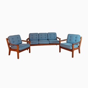 Danish Teak Sofa and Armchairs Set by Kristensen Juul for Glostrup, 1960s