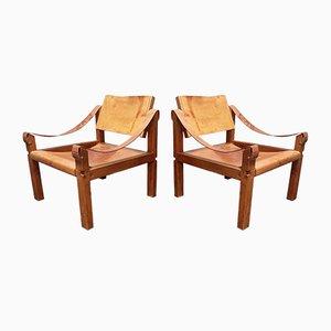 Französische Modell S10 Sahara Sessel aus cognacfarbenem Leder & Eichenholz von Pierre Chapo, 1960er, 2er Set